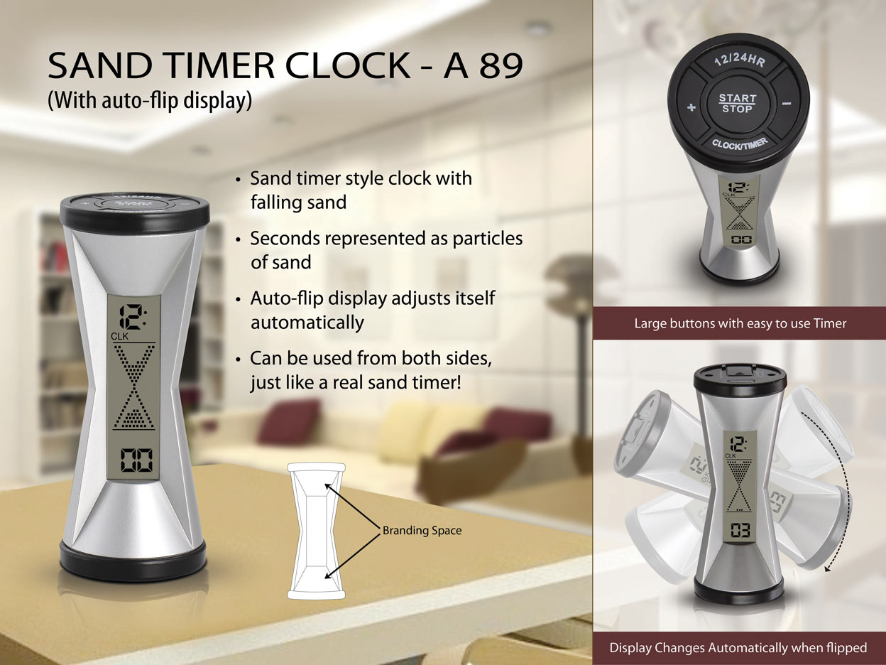 A89 - Sand timer clock (with auto flip display)