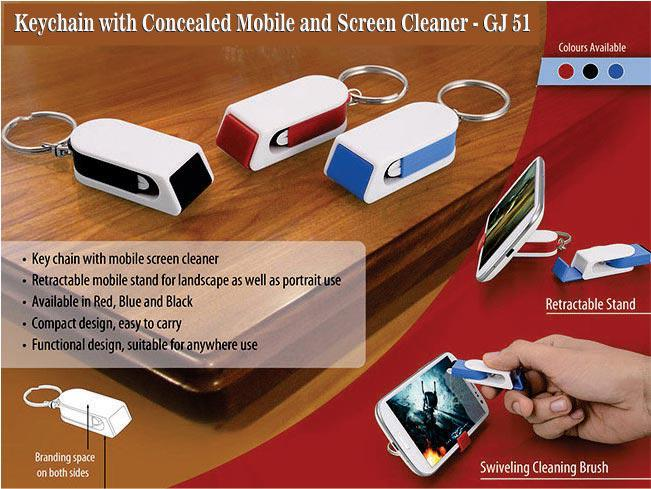 GJ51 - Keychain with concealed mobile stand and screen cleaner