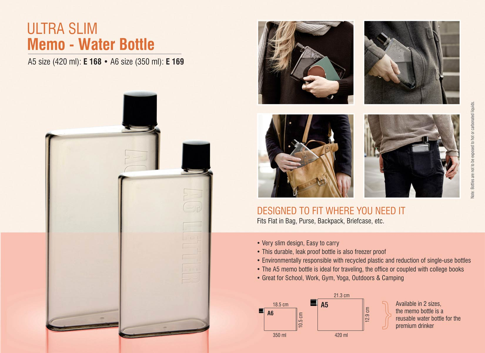 "E168 - Ultra slim ""Memo"" water bottle A5 size (420 ml)"