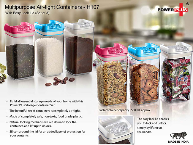 Multipurpose Air-tight Containers with Easy Lock Lid (Set of 3) - H107