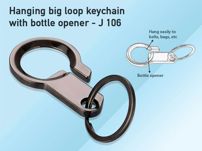 J106 - HANGING BIG LOOP KEYCHAIN WITH BOTTLE OPENER