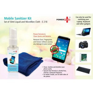 E218 - POWER PLUS MOBILE SANITIZER KIT (SET OF 50ML LIQUID AND MICROFIBRE CLOTH)