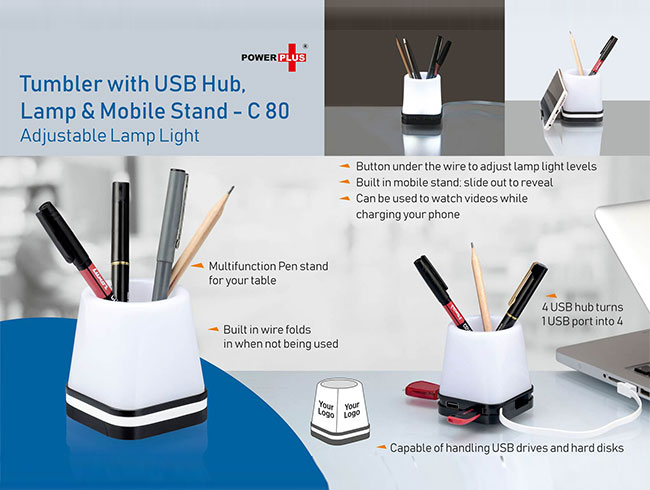 Tumbler With Usb Hub, Lamp and Mobile stand (adjustable lamp light) - C80