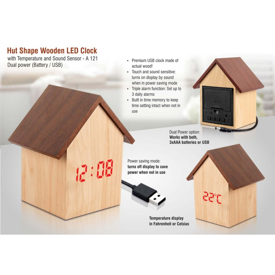 A121 - Hut shape wooden LED clock with temperature and sound sensor | Dual power (Battery / USB)