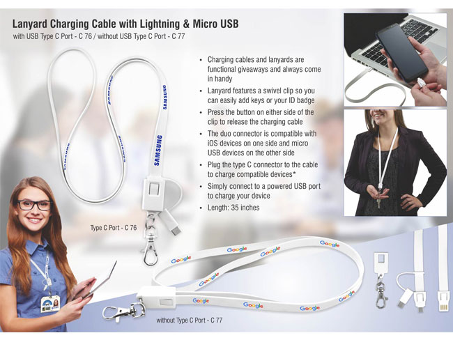 C76 - LANYARD CHARGING CABLE WITH LIGHTNING, MICRO USB AND USB TYPE C PORT