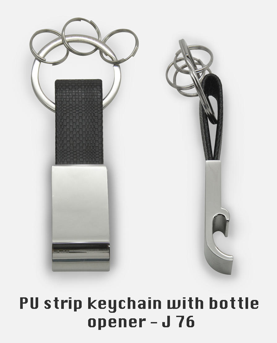 J76 - PU strip keychain with bottle opener