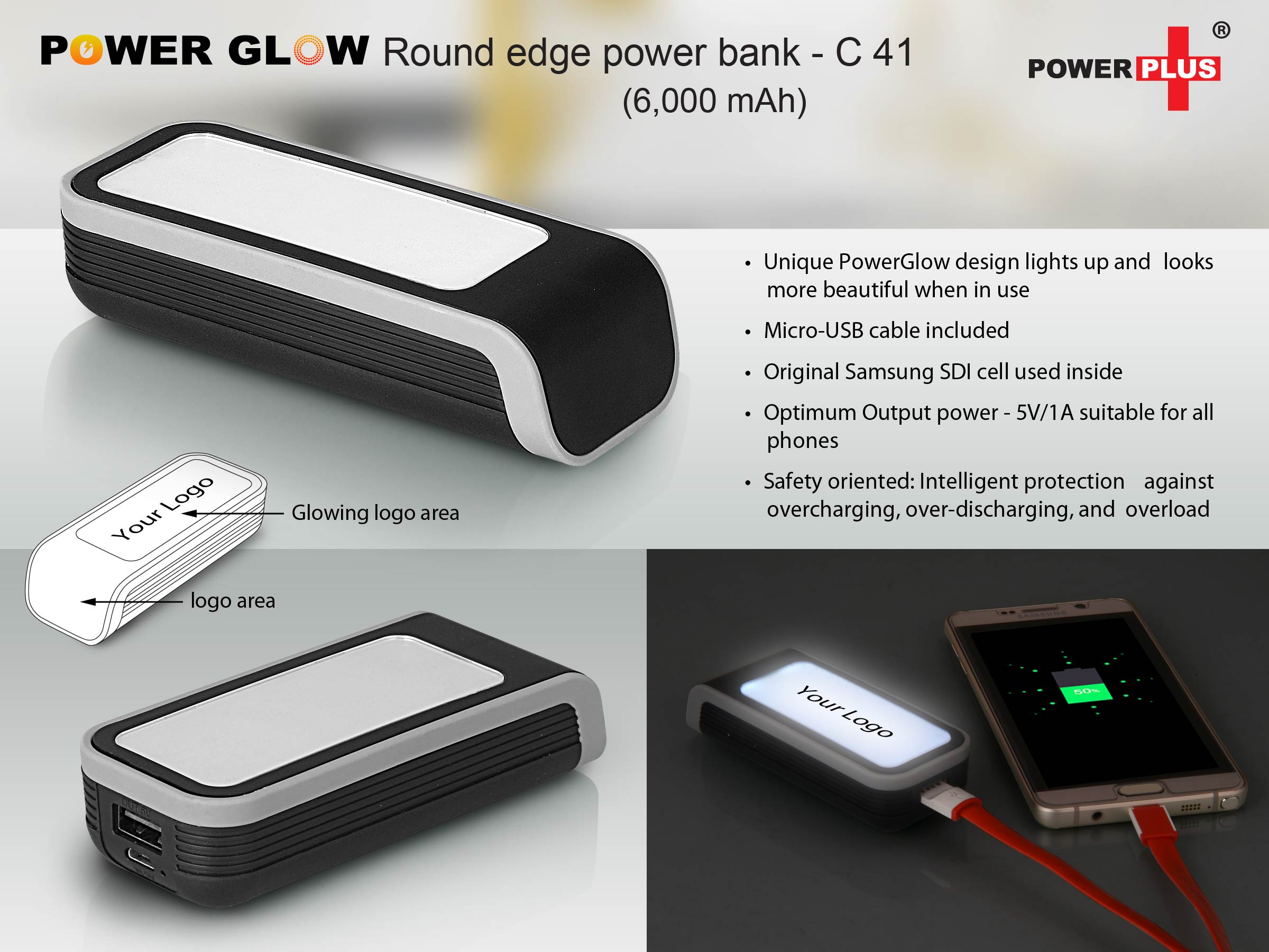 C41 - POWERGLOW ROUND EDGE POWER BANK (6,000 MAH)
