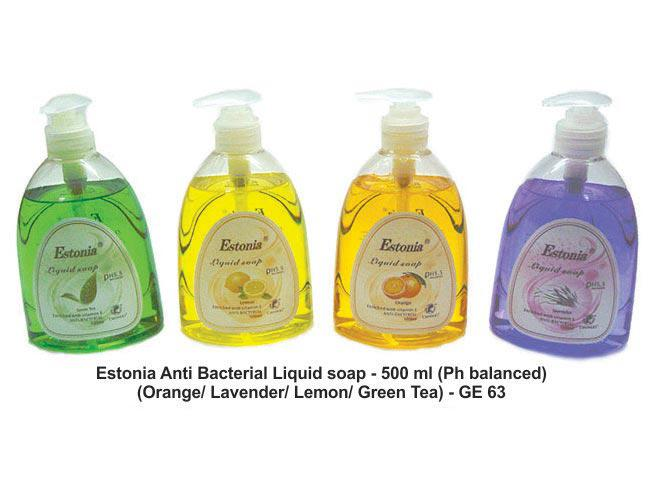 GE63 - Estonia Anti bacterial Liquid soap - 500 ml (Ph balanced) (Available in assorted fragrances of Orange/ Lavender/ Lemon/ Green Tea)