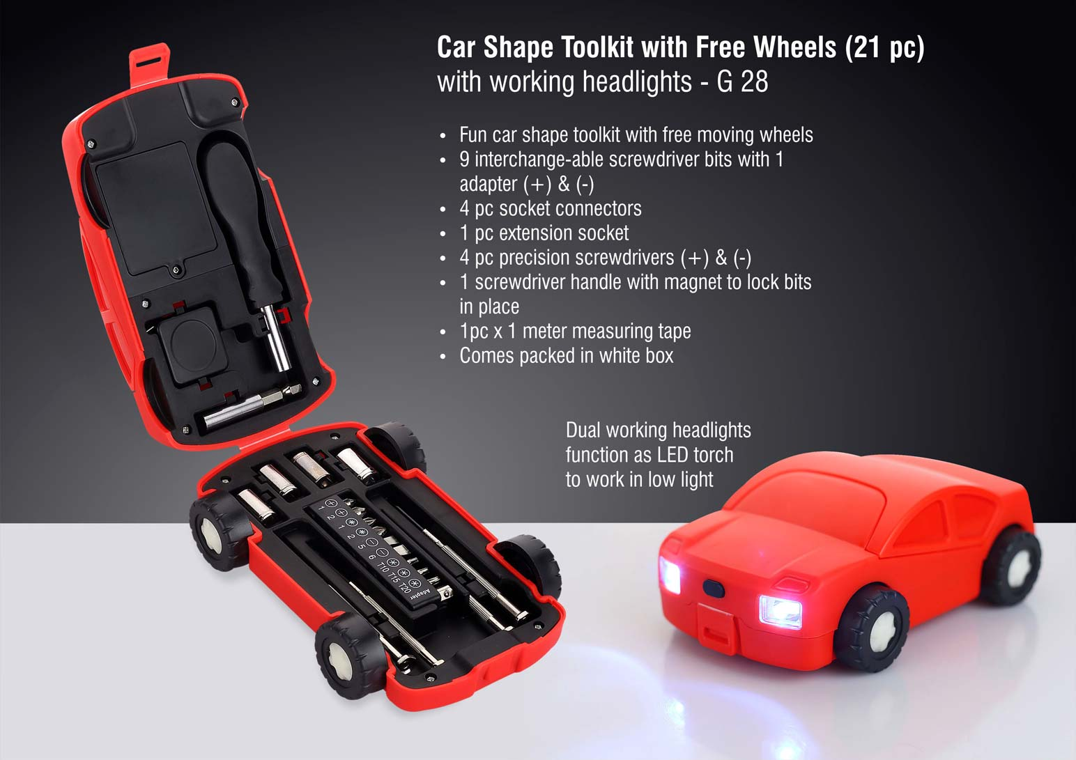 G28 - Car shape toolkit with free wheels (21 pc) | with working headlights