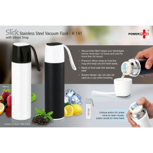 H141 - Slick Stainless Steel Vacuum Flask with silicon strap (500 ml)