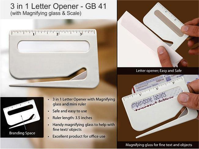 GB41 - Letter opener with magnifier & ruler
