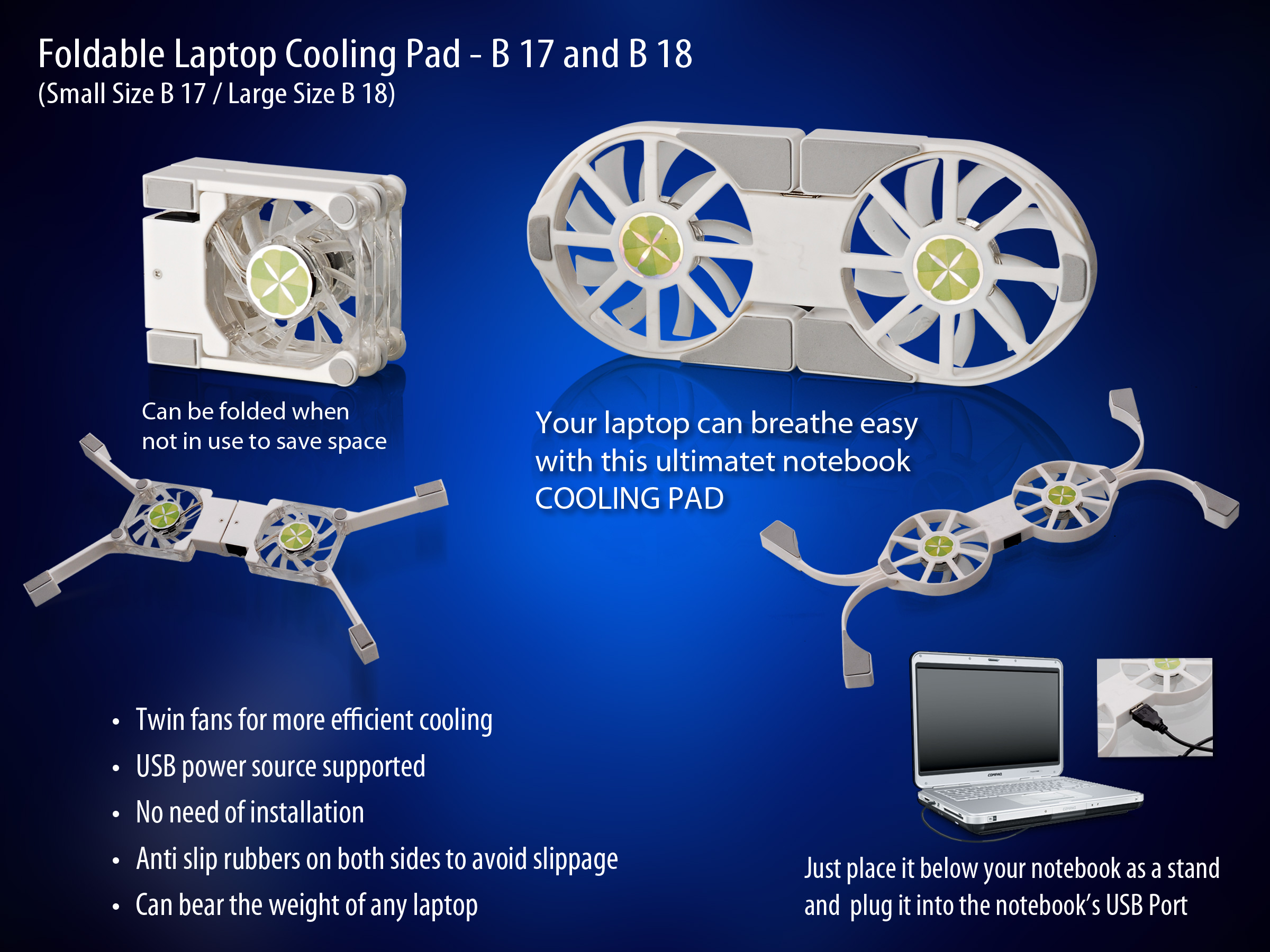 C-B17 - Folding Laptop stand with USB Fan (Small)