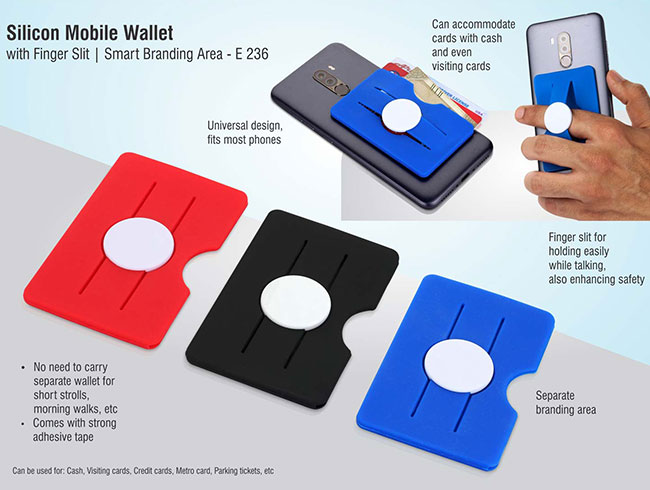 Silicon mobile wallet with finger slit | Smart branding area - E236
