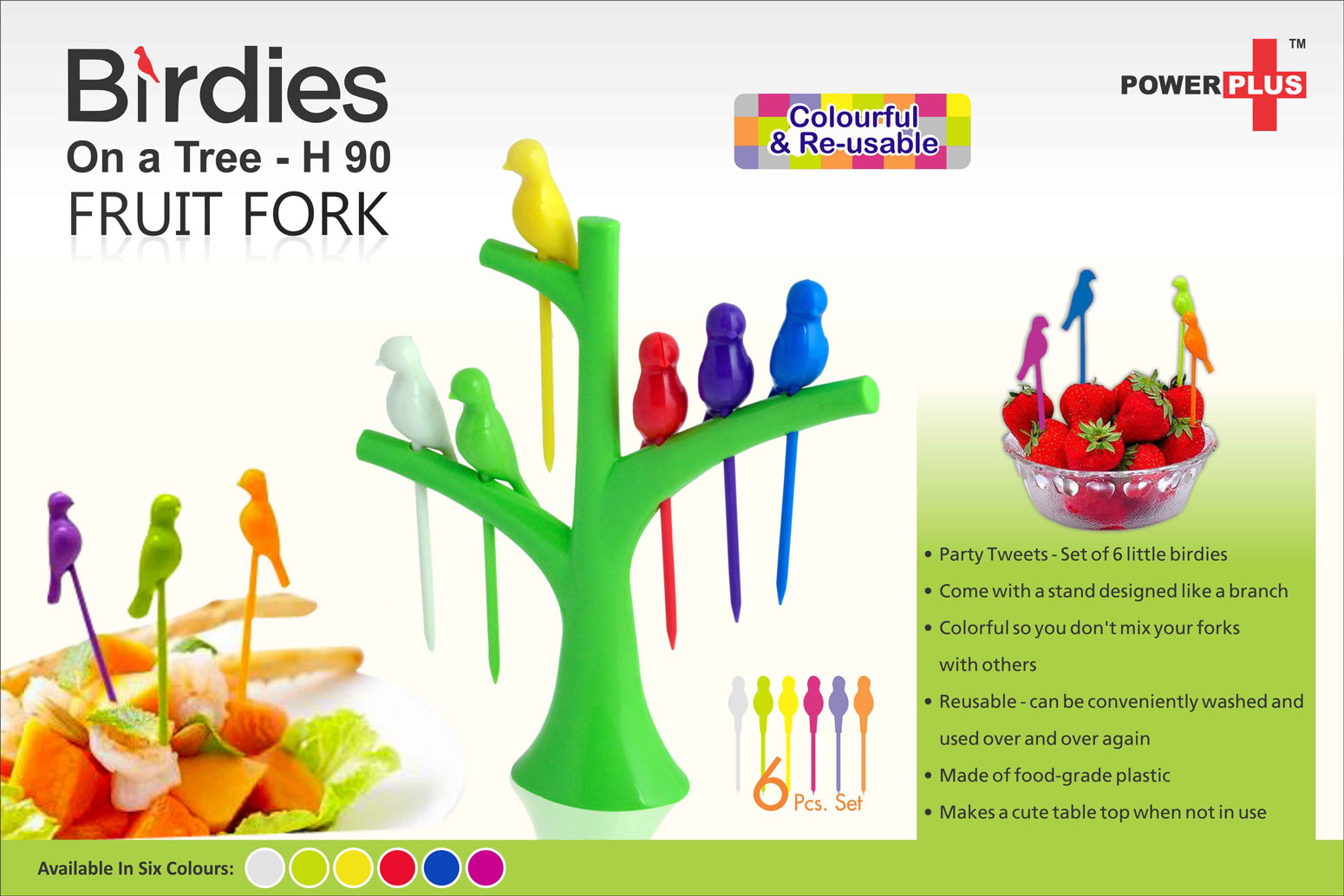 H90 - Birdies on a tree fruit fork set