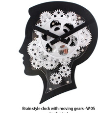 W05 - Brain style clock with moving gears (exclusive)