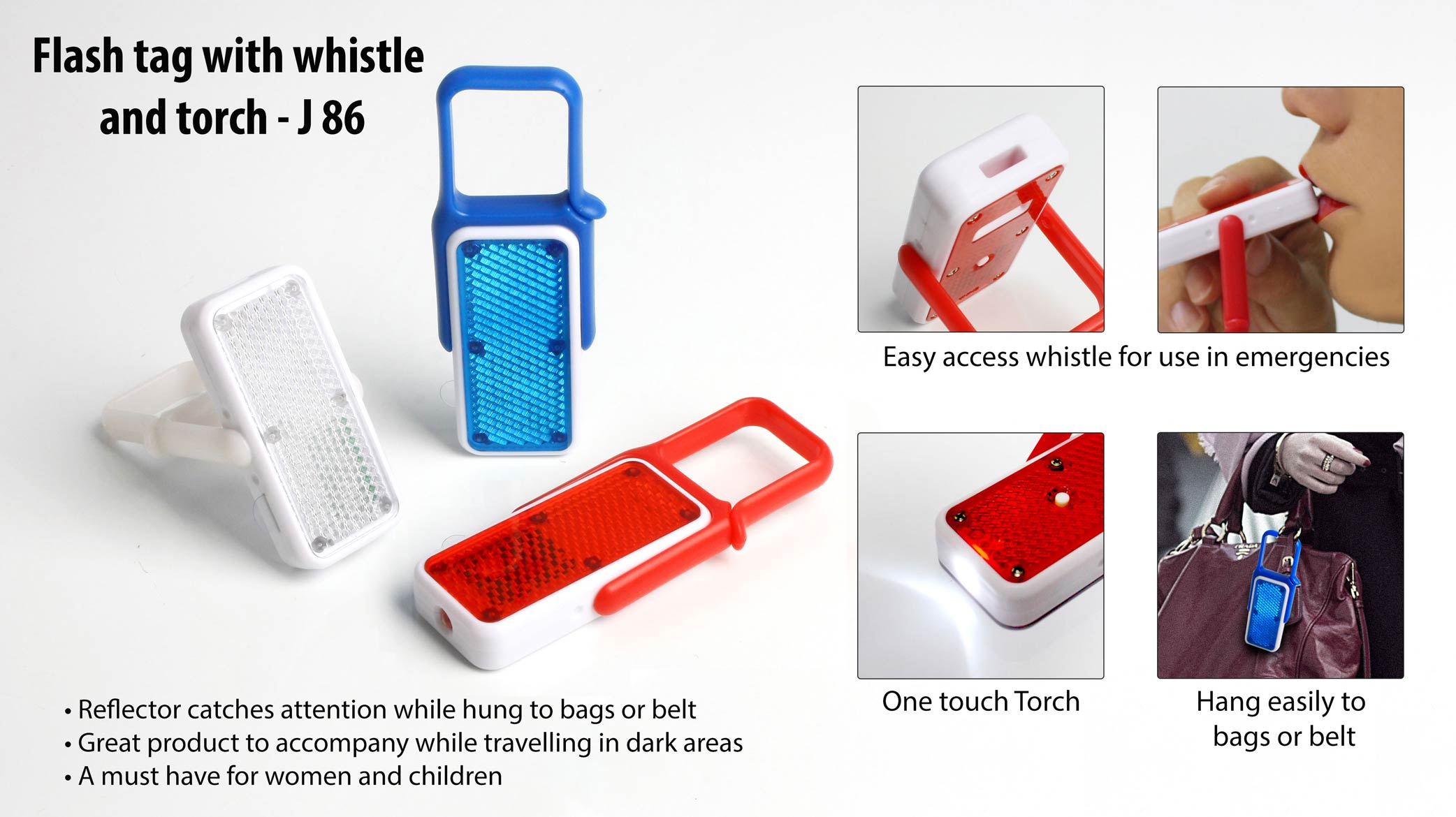 J86 - FLASH TAG WITH WHISTLE AND TORCH