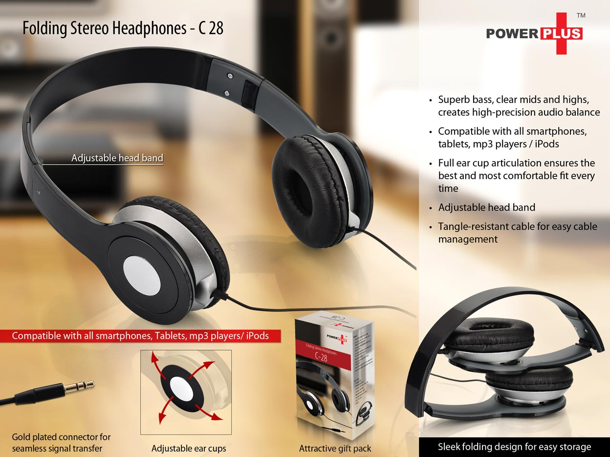 C28 - Power Plus Folding Stereo Headphones (with gift box packing)