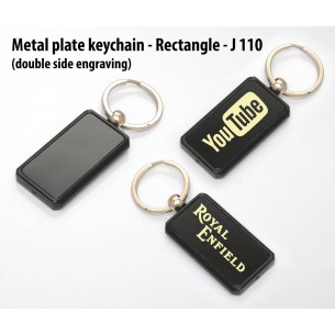 J110 - Metal plate keychain - Rectangle (double side engraving)