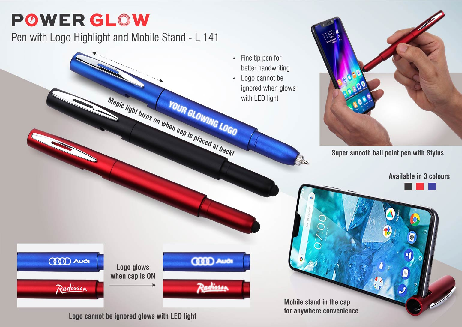 L141 - PowerGlow pen with logo highlight and mobile stand
