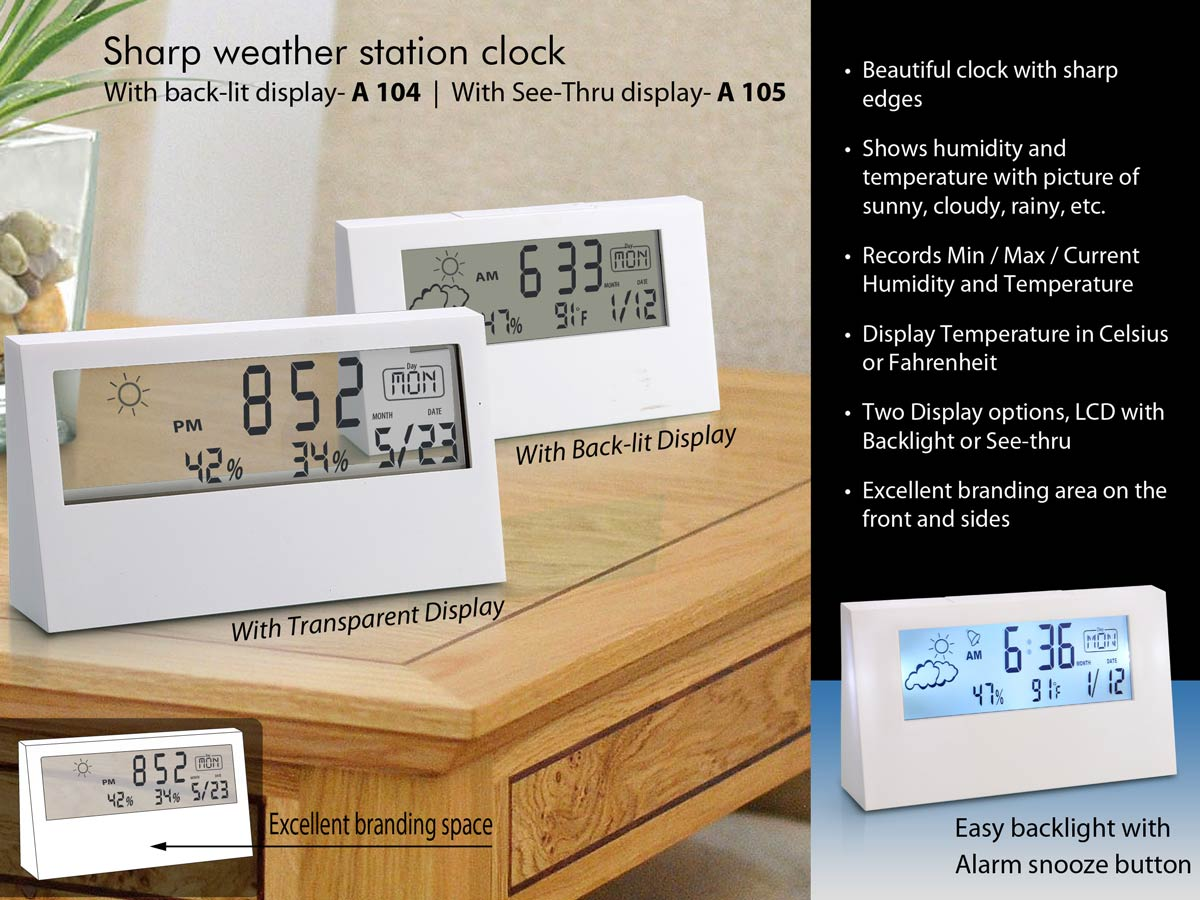A105 - Sharp weather station clock with see-thru display