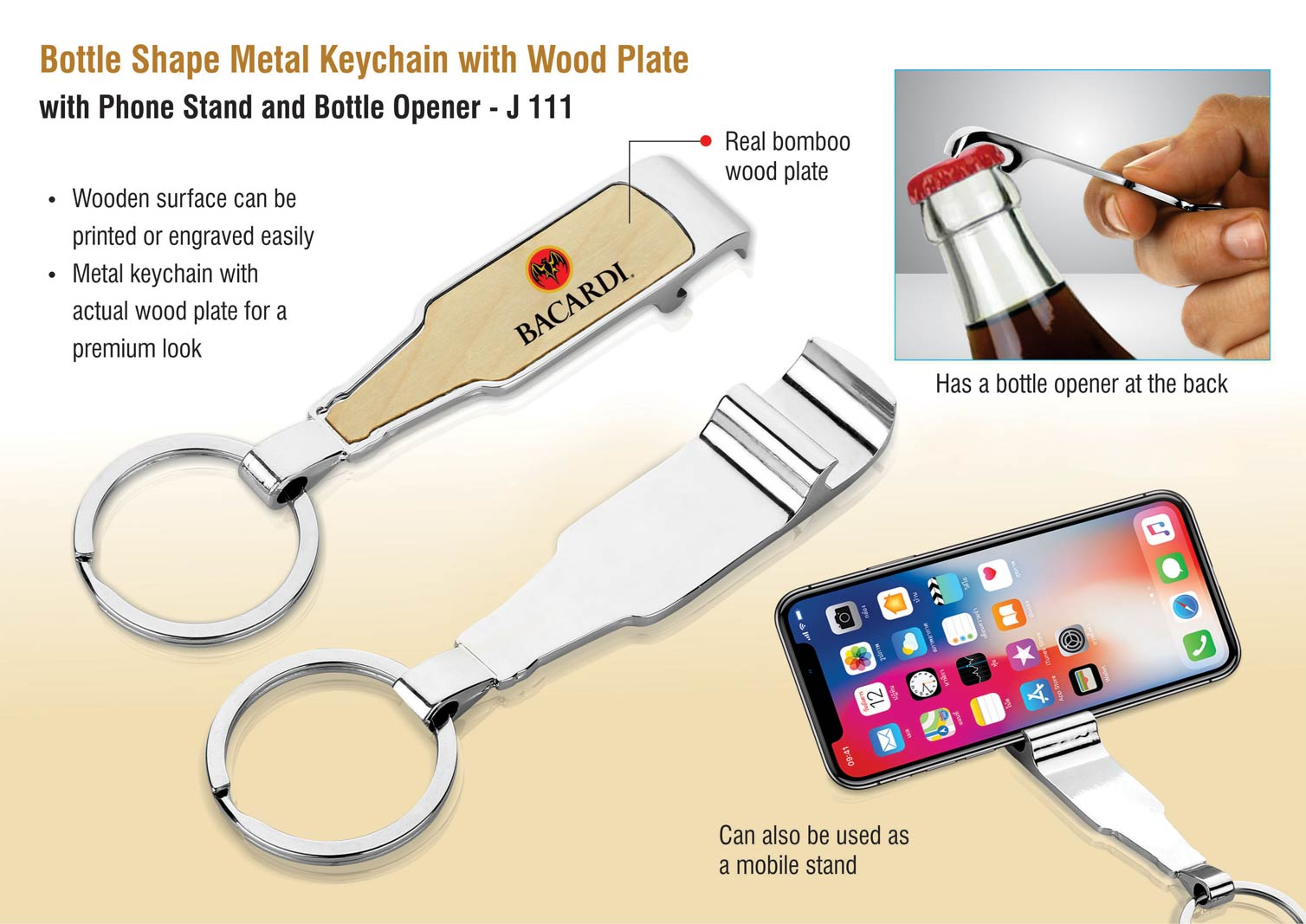 J111 - Bottle shape metal keychain with wood plate | with Phone stand and Bottle opener
