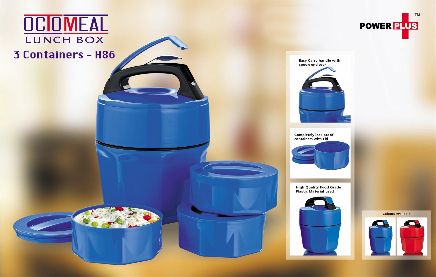 H86 - Power Plus Octomeal Lunch box - 3 containers (plastic)