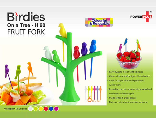 Birdies on a tree fruit fork set - H90