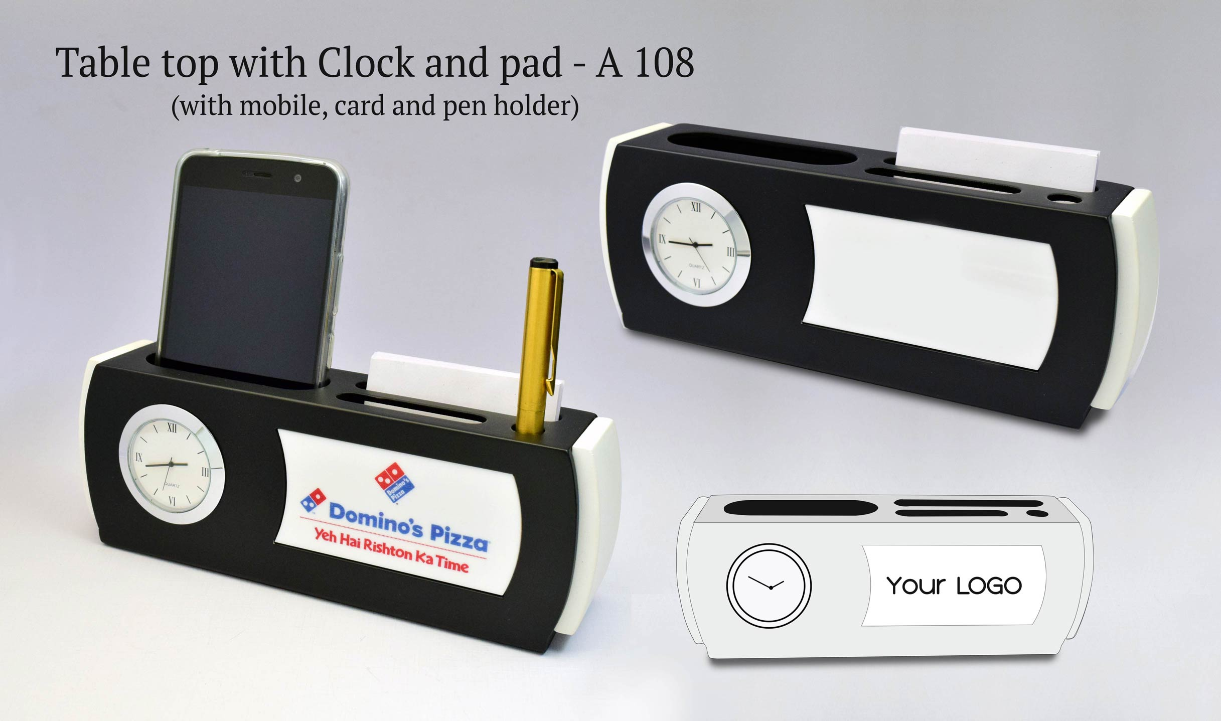A108 - Table top with Clock and pad (with mobile,card and pen holder)