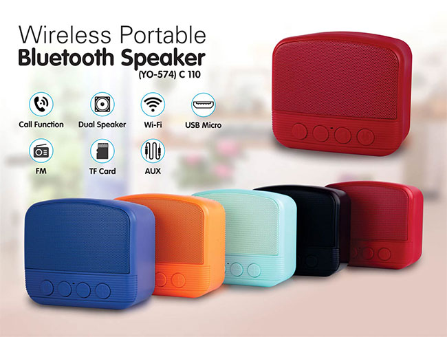 TV style bluetooth speaker | with USB / TF card / Aux / FM / TWS support / Mic in - C110
