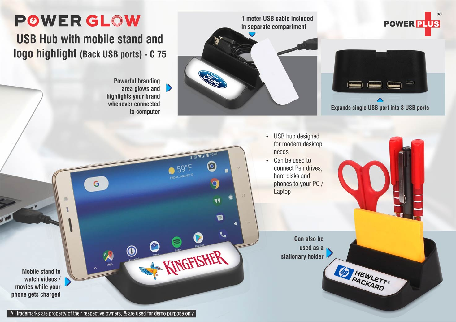 C95 - Powerglow Handy USB hub with logo highlight | 4 USB ports | Silicon strap | Built-in cable