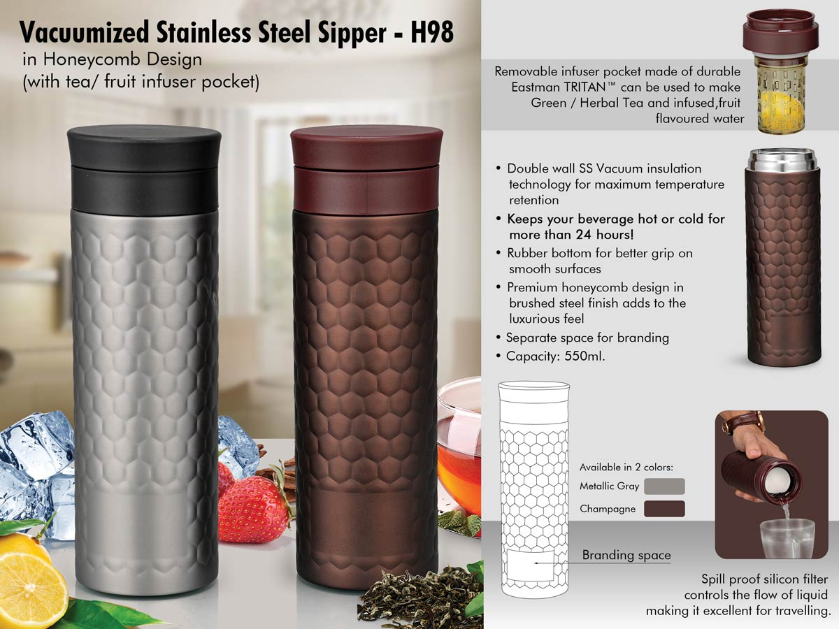 H98 - Vacuumized Tea/ Fruit infuser SS sipper in Honeycomb design