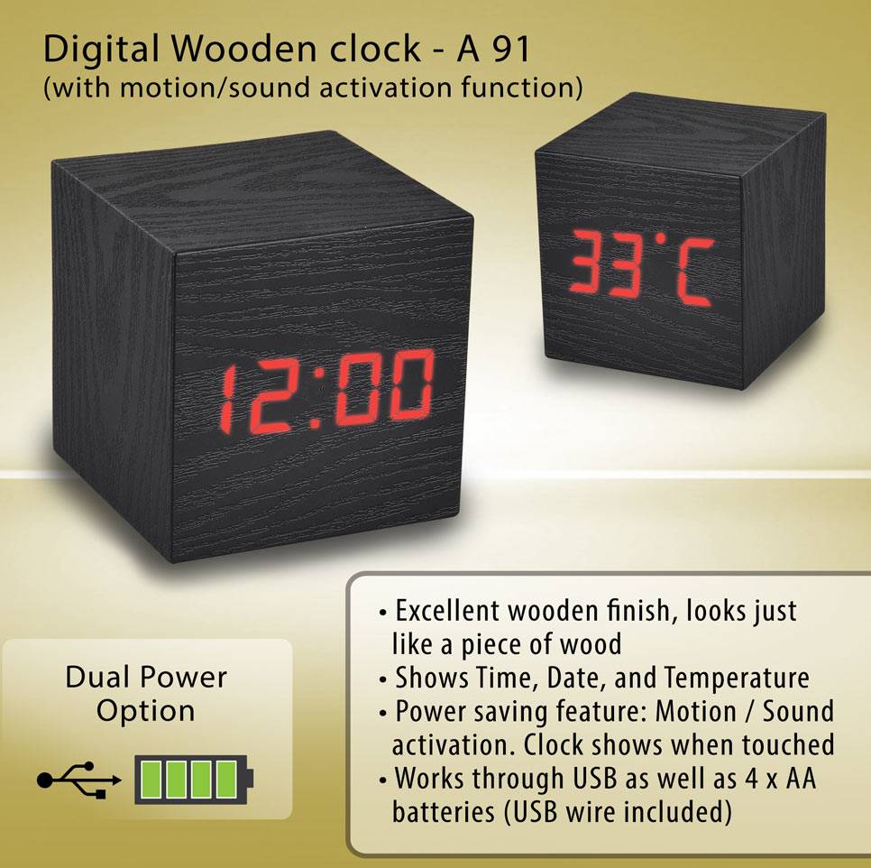 A91 - Wooden clock with motion/sound activation function