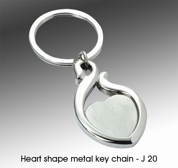 J20 - Heart Shape Metal Key Chain