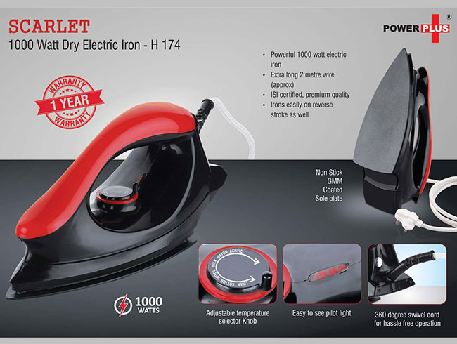 Scarlet: 1000 Watt dry electric iron by Power Plus | 1 year warranty - H174