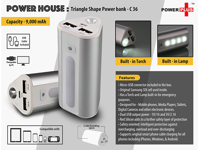 Power Plus Power House : Triangle shape Power Bank with Lamp and Torch (Dual USB Port)(9000 mAh) - C36