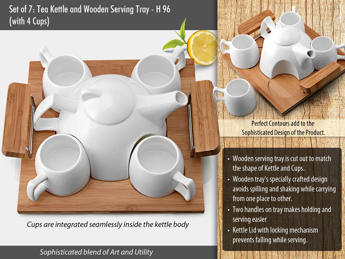 H96 - Set of 6: Tea Kettle with 4 cups and wooden serving tray
