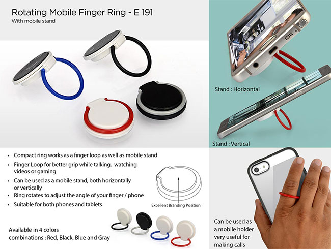 Rotating mobile finger ring (with mobile stand) - E191