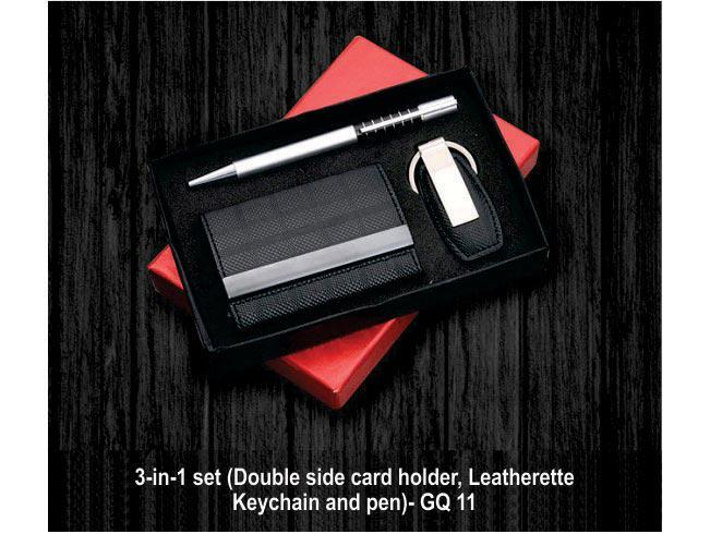 GQ11 - 3 in 1 set (Double side card holder, Leatherette keychain and pen)