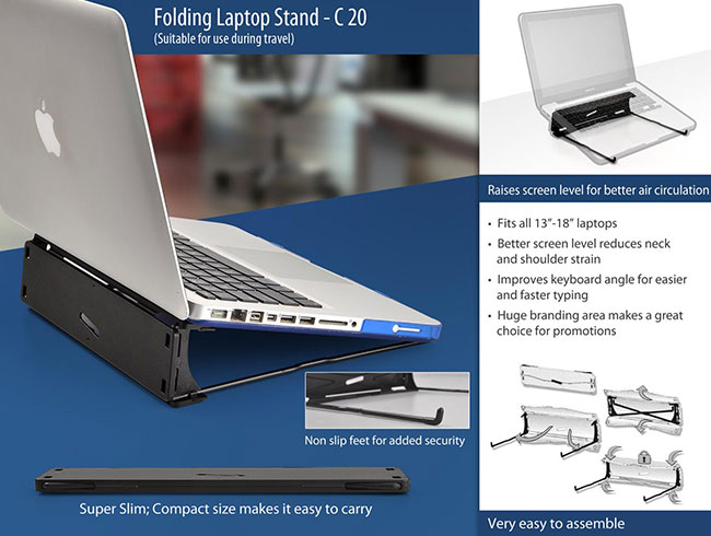 Folding laptop stand (suitable for travelling) - C20
