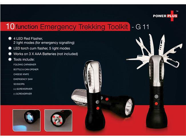G11 - Emergency trekking toolkit (9 function with 5 mode torch & 2 mode flasher)