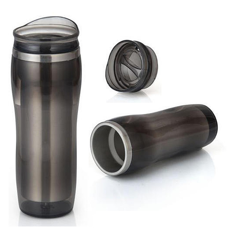 BLACK TRANSPARENT STEEL MUG(400 ML)GM-226