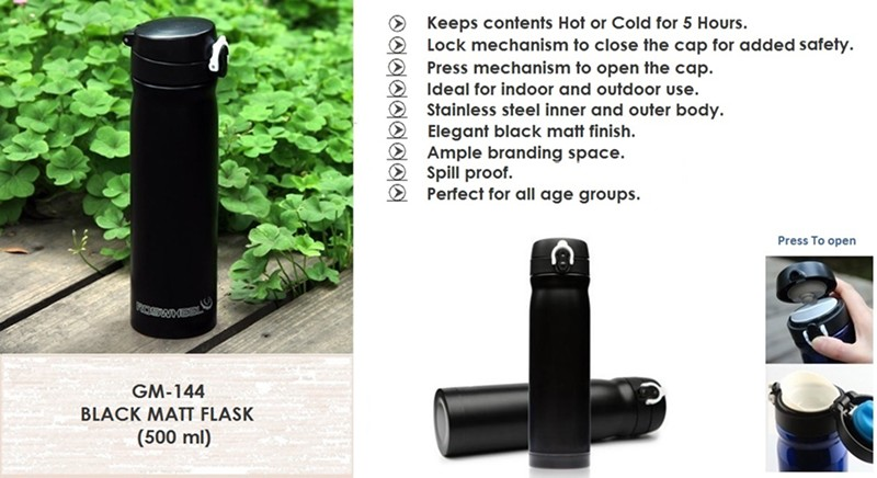 GM- 144 BLACK MATT FLASK ( 500 ml )