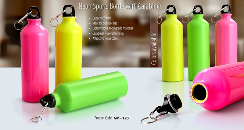 GM- 123 Neon Sports Bottle with Carabiner