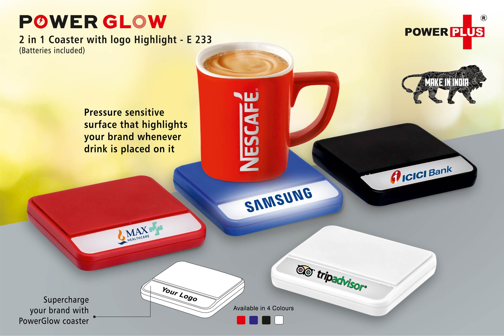 E233 - PowerGlow coaster with logo highlight (batteries included)