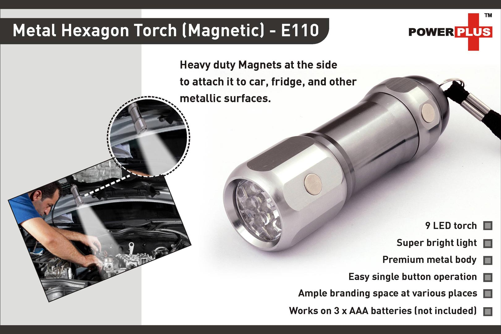 E110 - Hexa Metal torch (magnetic) (9 LED)
