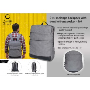 S07 - Slimz gray backpack with double front pocket by Castillo Milano