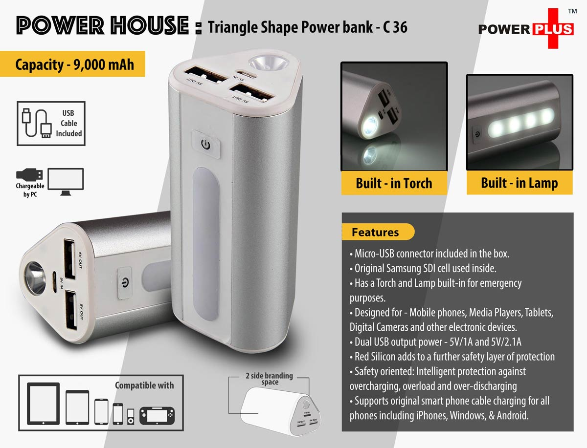 C36 - Power House : Triangle shape Power Bank (9000 mAh)