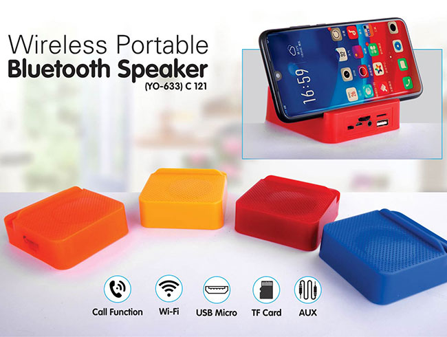 Mini bluetooth speaker with mobile stand |  with USB / TF card / Aux / FM (YO  633) - C121