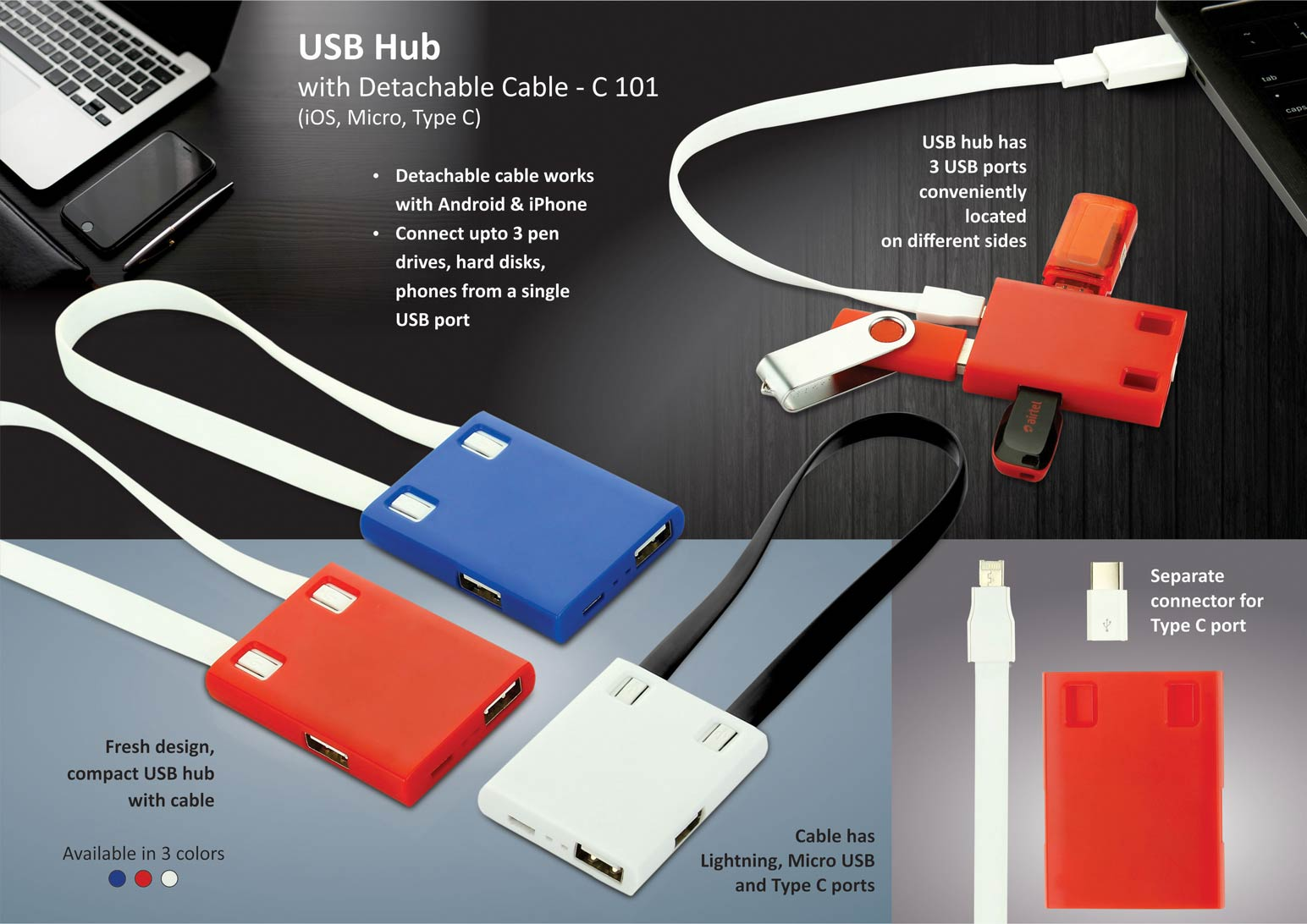 C101 - USB Hub with detachable cable (iOS, Micro, Type C) | 3 USB ports