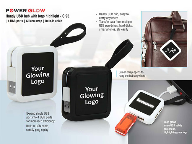 Power Glow Handy USB hub with logo highlight | 4 USB ports | Silicon strap | Built-in cable - C95
